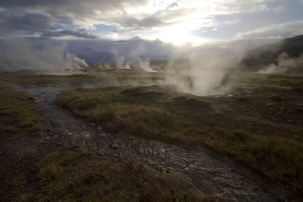 Photograph - Icelandic Hot Springs Near Sun Down by Sven Brogren