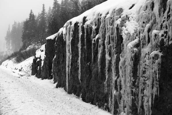 Photograph - Icicles On The Rock - Bw by Marilyn Wilson