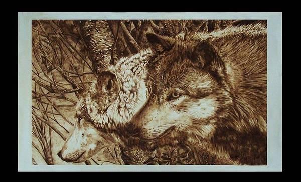 Pirografia Wall Art - Pyrography - Il Branco by Davide Della Noce