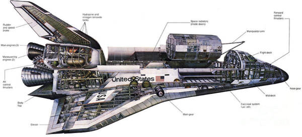 Aft Photograph - Illustration Of An Orbiter Cutaway View by Stocktrek Images