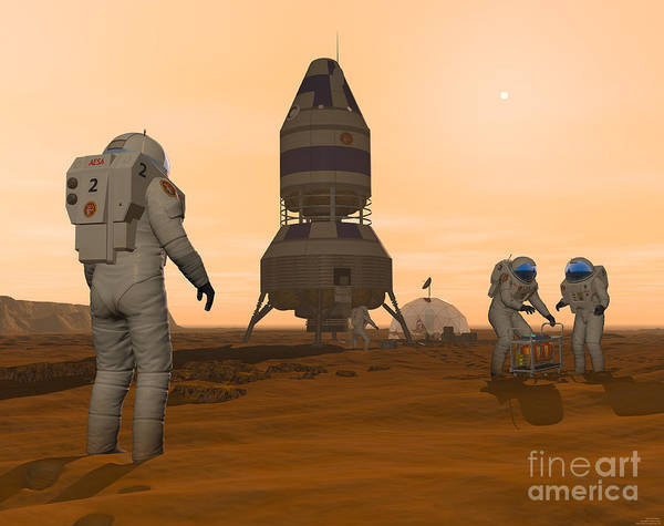 Digital Art - Illustration Of Astronauts Setting by Walter Myers
