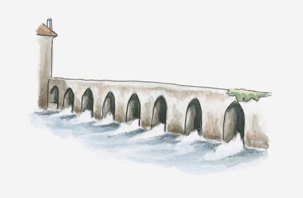 Et Digital Art - Illustration Of Old Roman Bridge At La Sauvetat-du-dropt, Pays Du Dropt, Lot-et-garonne, France by Dorling Kindersley
