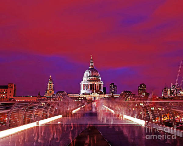 Wall Art - Photograph - Image St Pauls From Millennium Bridge London At Night by Chris Smith