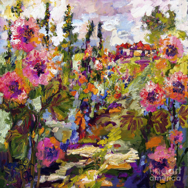 Mixed Media - Impressionist Garden Path And Hollyhock by Ginette Callaway