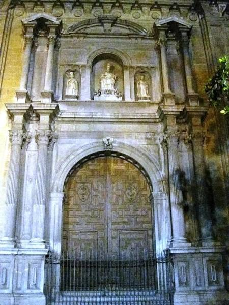 Photograph - Impressive Gothic Church Doorway Columns At Night Granada Spain by John Shiron
