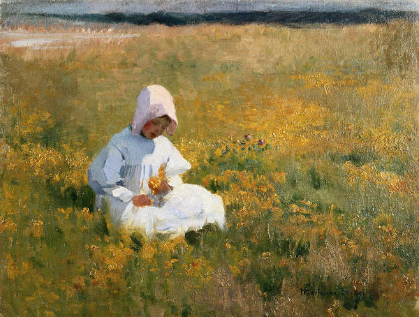 Bonnet Painting - In A Field Of Buttercups by Marianne Stokes
