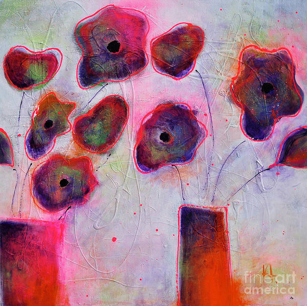 Neon Pink Painting - In Full Bloom 2 by Johane Amirault