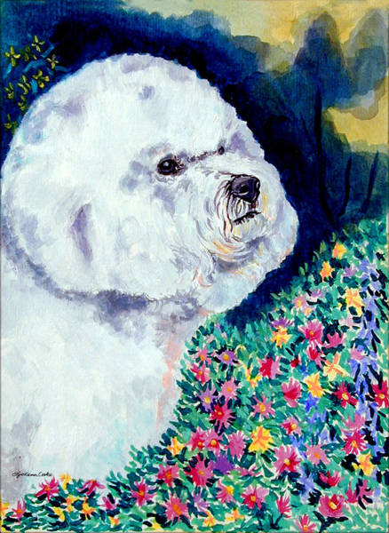 Bichon Wall Art - Painting - In Mom's Flowers - Bichon Frise by Lyn Cook