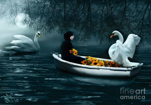 Swan Boats Digital Art - In Santa Pace Maiden by Rosa Cobos