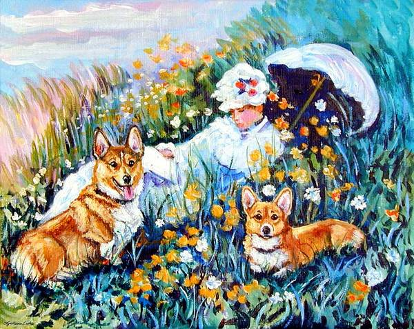 Wall Art - Painting - In The Field With Corgis After Monet by Lyn Cook