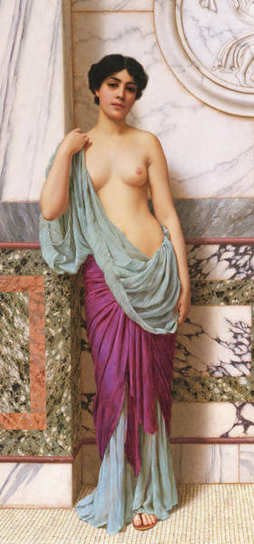 Boobs Wall Art - Painting - In The Tepidarium by John William Godward