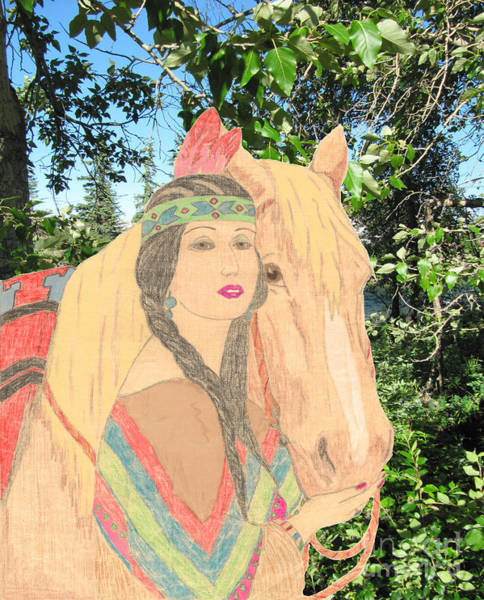Drawing - Indian Princess And Horse by Donna L Munro