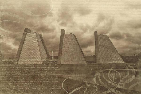 Mixed Media - Indianapolis Pyramids Textured 2 by David Haskett II