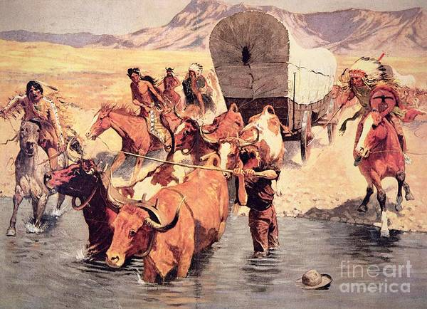 Settlers Painting - Indians Attacking A Pioneer Wagon Train by Frederic Remington