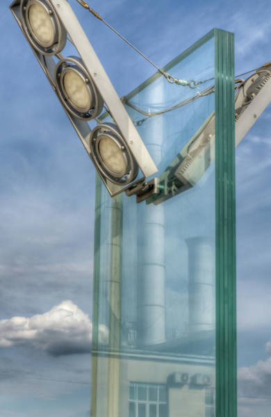 Photograph - Industrial Reflection In A Street Lamp by Michael Goyberg