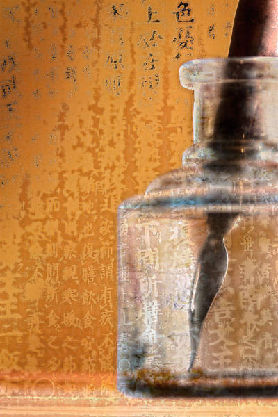 Ink Pen Photograph - Ink Bottle Calligraphy by Carol Leigh