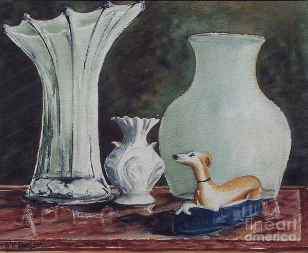 Inkwell Painting - Ink Well And Vases by W R  Hersom