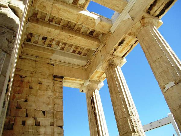 Photograph - Interior Architecture Of  Acropolis Parthenon Tall Columns And High Ceiling In Athens Greece by John Shiron