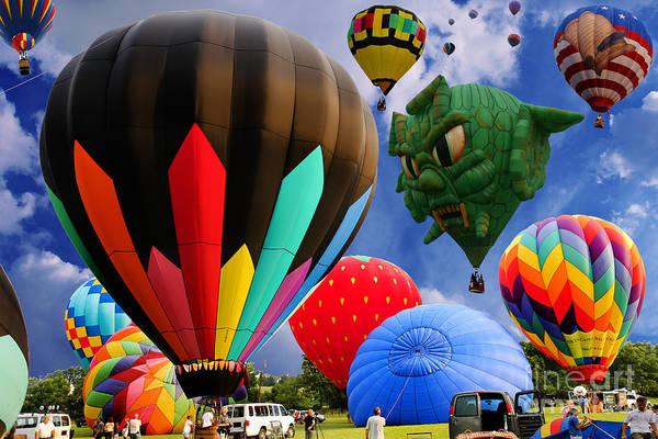 Wall Art - Photograph - Into The Great Blue Sky - Hot Air Balloon Ride - Hot Air Balloons - Warren County Fair by Lee Dos Santos