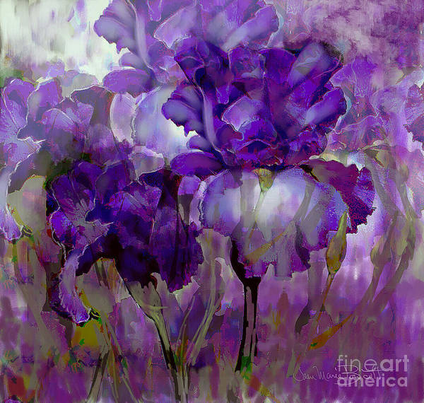 Purple Iris Mixed Media - Iris  by Jean Marie Bowcott