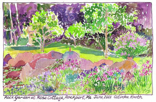 Painting - Iris Rock Garden Rose Cottage Rockport Maine by Catinka Knoth
