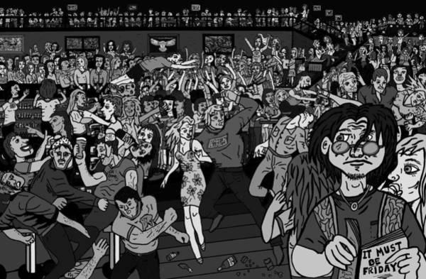 Wall Art - Drawing - It Must Be Friday Night by Karen Elzinga