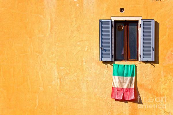 Wall Art - Photograph - Italian Flag Window And Yellow Wall by Silvia Ganora