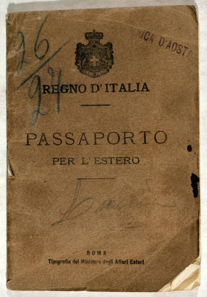 Italian Immigrants Wall Art - Photograph - Italian Passport. Italian Passport by Everett