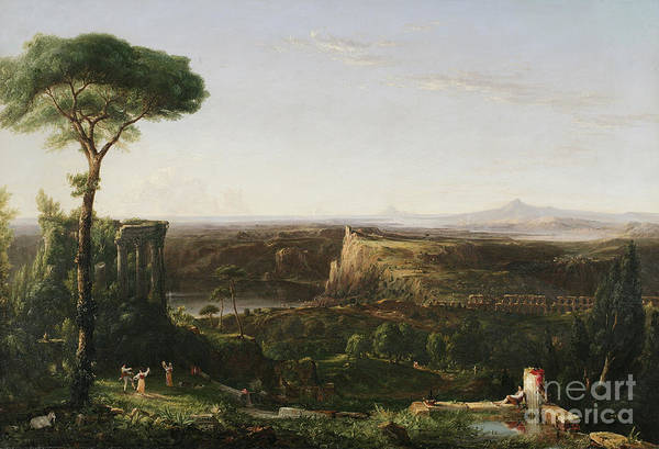 Ruin Painting - Italian Scene Composition by Thomas Cole