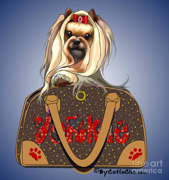 Digital Art - It's A Yorkie In A Bag  by Catia Lee
