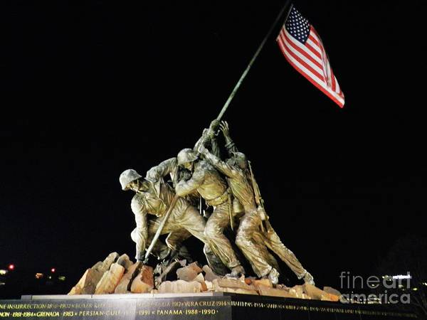 Wall Art - Photograph - Iwo Jima Memorial At Night by Snapshot Studio