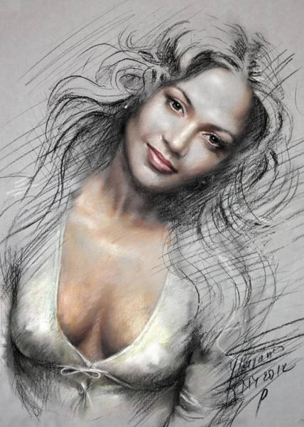 Actress Drawing - J L0 by Ylli Haruni