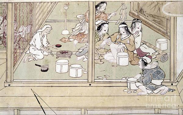 Feudal Japan Wall Art - Photograph - Japan: Childbirth, 1329 by Granger