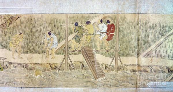 Feudal Japan Wall Art - Photograph - Japan: Irrigation, C1575 by Granger