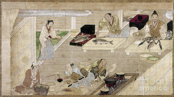 Feudal Japan Wall Art - Photograph - Japan: Kitchen, C1375 by Granger