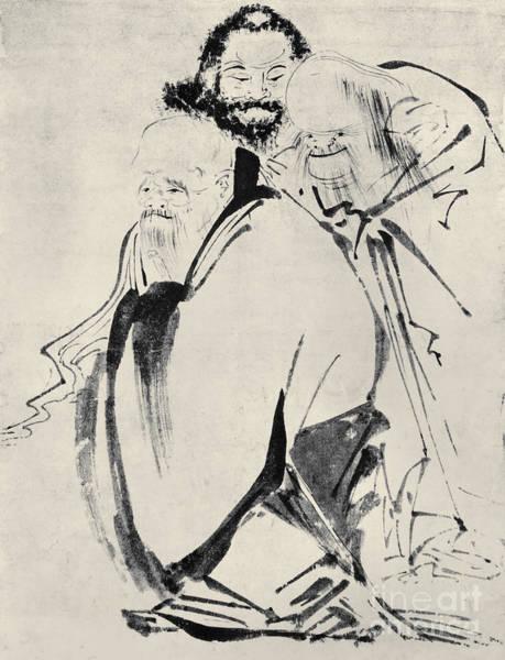 Feudal Japan Wall Art - Photograph - Japan: Old Men, C1425 by Granger