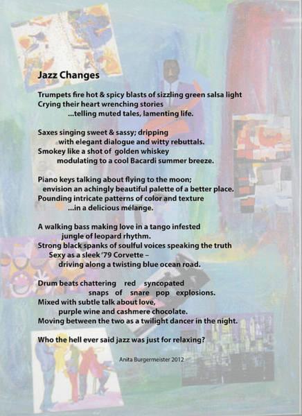 Painting - Jazz Changes - Poem by Anita Burgermeister