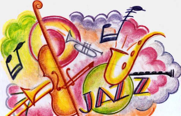 Sax Drawing - Jazz Deco by Mel Thompson