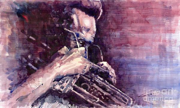 Wall Art - Painting - Jazz Miles Davis Meditation  by Yuriy Shevchuk