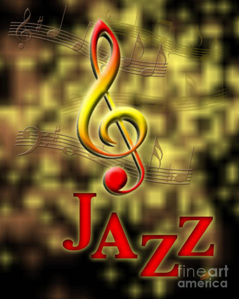Yellow Trumpet Digital Art - Jazz Music Poster by Linda Seacord