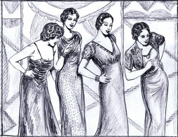 Flappers Drawing - Jazzy Ladies Bw by Mel Thompson