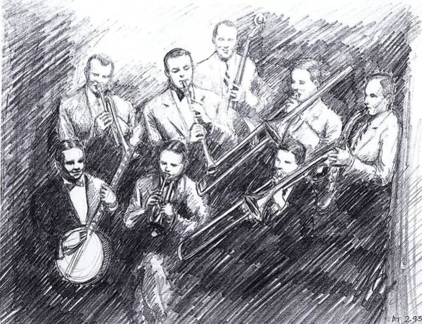 Sax Drawing - Jean Goldkette Orchestra 1926 by Mel Thompson