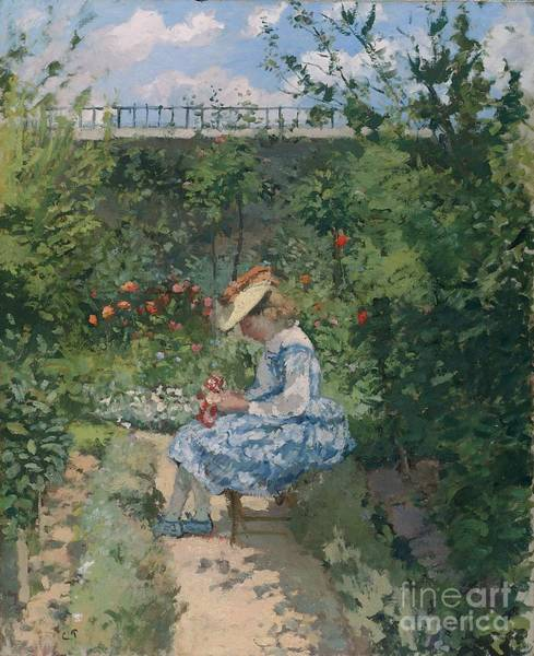 Blue Dress Painting - Jeanne In The Garden by Camille Pissarro