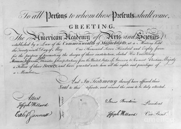 Membership Photograph - Jefferson: Certificate, 1787 by Granger