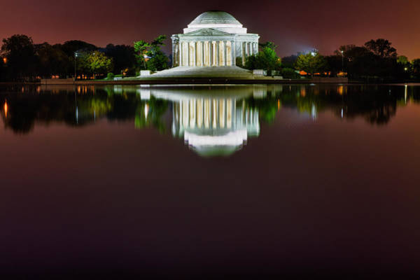 Photograph - Jefferson Memorial Across The Pond At Night 3 by Val Black Russian Tourchin