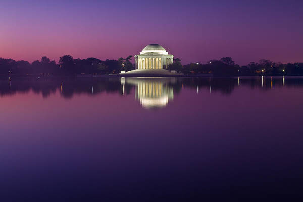 Photograph - Jefferson Memorial And Pond At Blue Light by Val Black Russian Tourchin