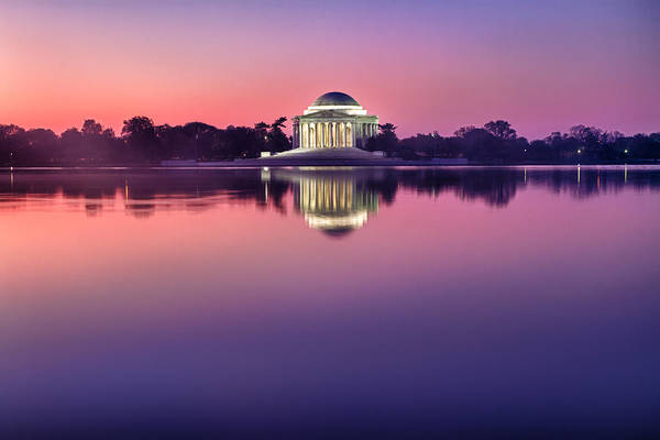 Photograph - Jefferson Memorial And Pond At Pink Light by Val Black Russian Tourchin