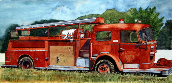 Vintage Fire Truck Painting - Jersey Tough by Jeffrey S Perrine