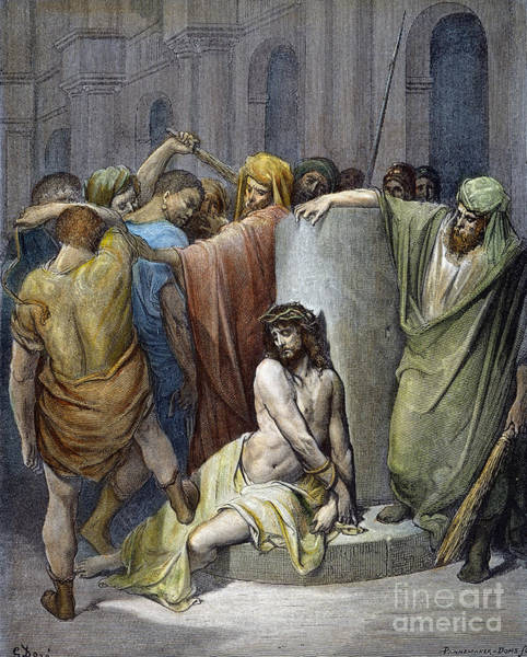 Wall Art - Drawing - Scourging Of Jesus by Gustave Dore