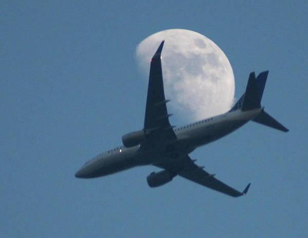 Jet In Front Of Moon Art Print